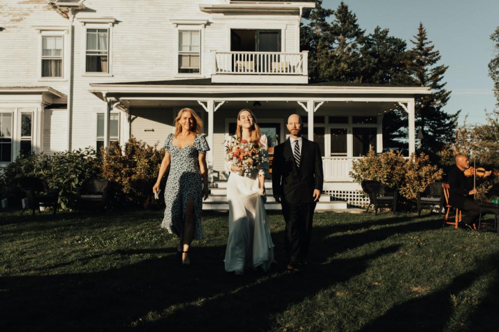 bride walks down aisle wedding string quartet